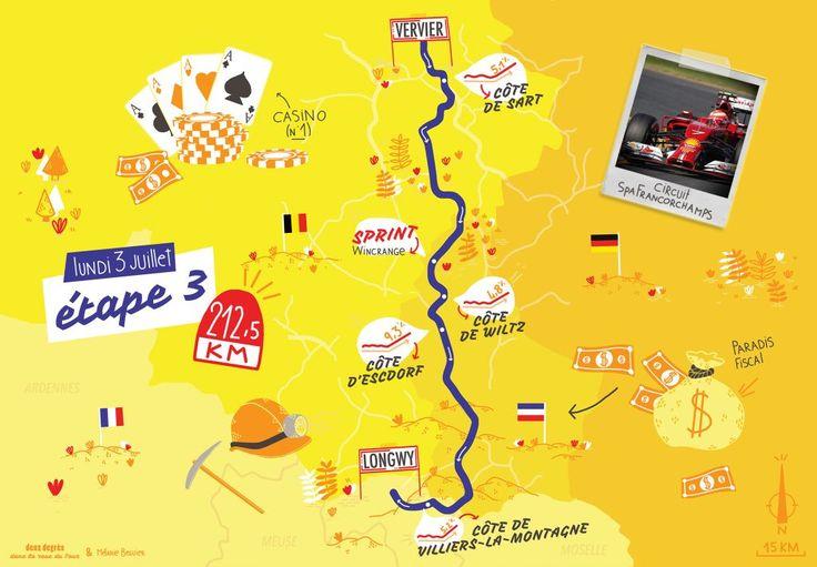 """carte/map """"deux degrés dans la roue du Tour"""" 2017, 3e étape by deux degrés et Mélanie Béguier (France, Bordeaux)"""