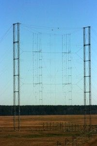 One of the 19 curtain antennas on the campus of the VOA Greenville N.C. (Edward R. Murrow Transmitting Site.