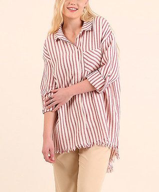 Red Stripe Fray-Hem Button-Up Tunic - Plus