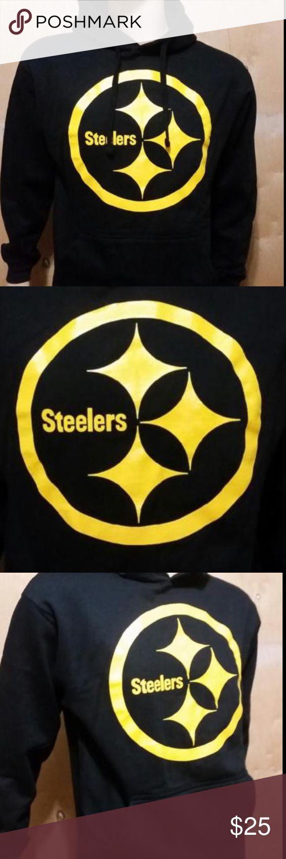 NWOT Men's Pittsburgh Steelers Hoodie 80% Cotton 20% Polyester AMS Hoodie/ Silk Screen Print AMS Shirts Sweatshirts & Hoodies