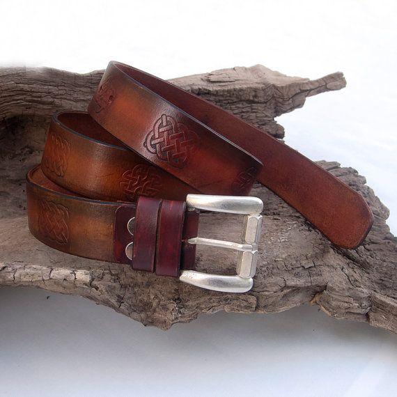 Men's Leather Belt Celtic leather belt for men Top by JeansBelt