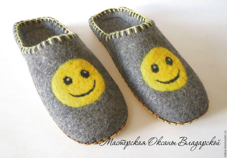 """Купить Войлочные тапочки """"Smile!"""" - серый, тапочки, тапочки домашние, войлочные тапочки, валяные тапочки"""
