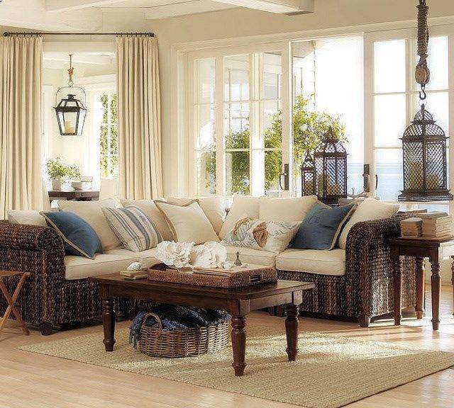Pottery Barn Living Room Furniture: 1461 Best Beach Decor Images On Pinterest