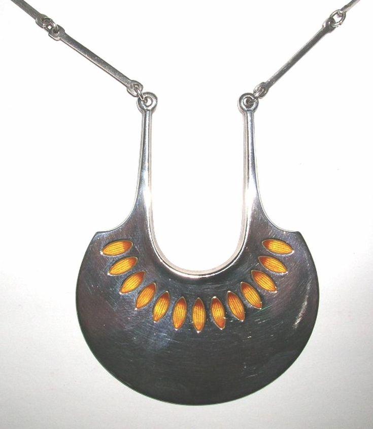 "David Andersen (NO), modernist ""Silver Series"" silver and enamel necklace, 1966. #norway"