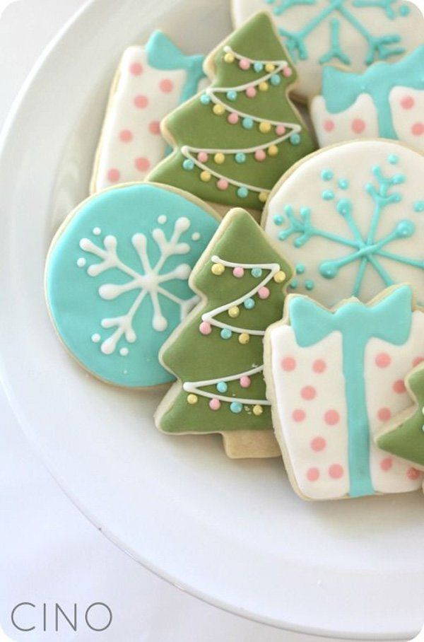 Pastel Christmas cookies. Create light colored cookies with pretty Christmas designs and place them in your treat plate or cookie jars for the Christmas season.
