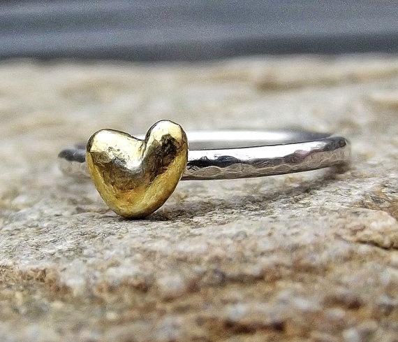 Heart ring: Silver Stacking, Gifts Ideas, Heart Rings, Valentines Day, Stacking Rings, Heart Silver, Gold Heart, Gold Tiny, Tiny Heart