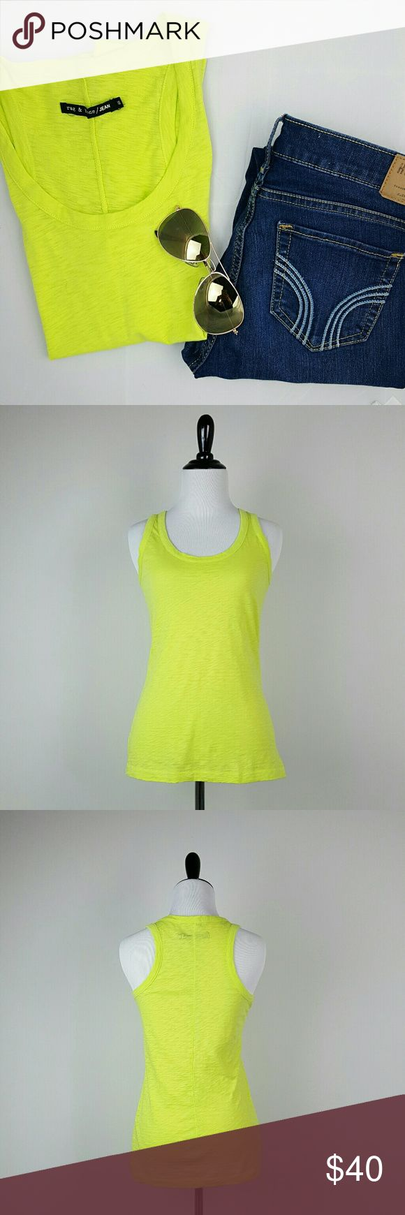 "Rag & Bone / JEAN Tank Top Rag & Bone / JEAN Tank Top. The tank top fabric has a distressed burn out look.  Size: XS 100% Cotton Approximate measurements laying flat: Length- 26"" Underarm to underarm- 13 1/4"" Color is a light neon green/yellow rag & bone Tops Tank Tops"