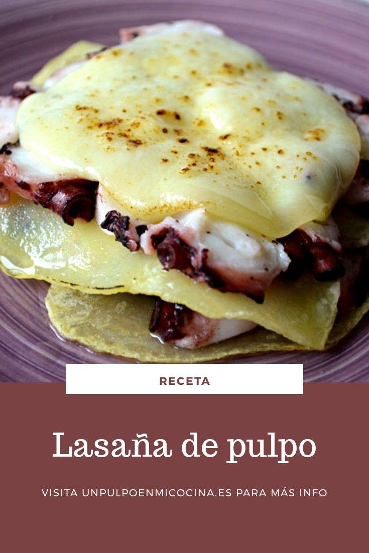 #entrante de #pulpo Una rica #lasaña de #patata #pulpo y #queso #ahumado Pasta, Hamburger, Sandwiches, Eggs, Breakfast, Ethnic Recipes, Blog, Gratin, Smoked Cheese