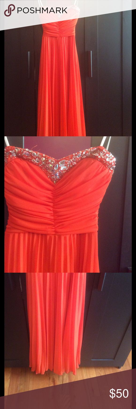 Prom Dress 🌹 Orange prom dress with diamond and glitter detail ✨ along the breast line Bust size : 32-34 Size: 3  Length: 162 in. There is a short slit along the dress as shown in the photo but is barely noticeable 💕 B Smart Dresses Prom
