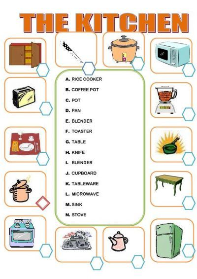 kitchen furniture vocabulary buscar con google english