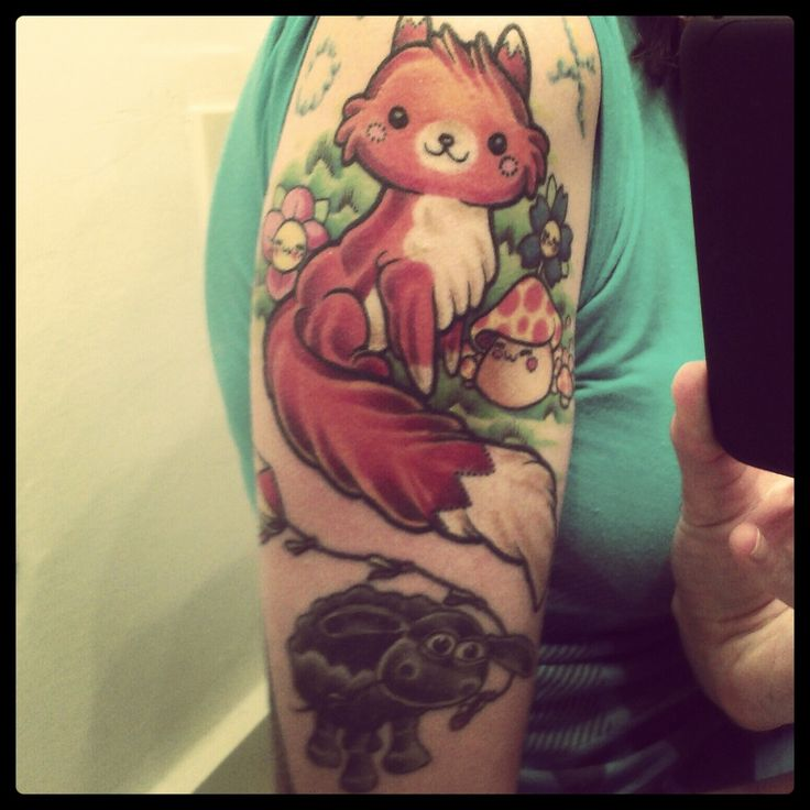 """This is my finished kawaii fox. Below him is my little black sheep flying a kite. These are both done by Jordi at Shanghai Tattoo Company in Spartanburg, SC. I love them very much."""