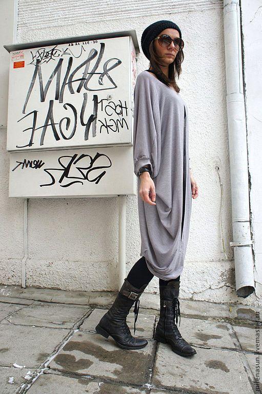 Купить Серая туника Макси (летняя одежда, необычная туника на заказ) - туника, платье, кофта