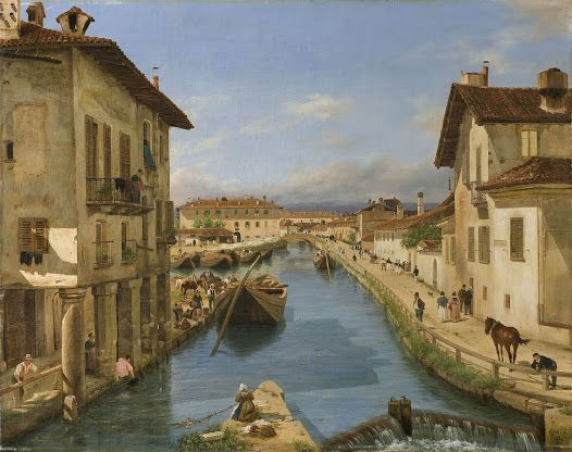 View of the naviglio canal from the san marco bridge in milan Giuseppe Canella 1834 Painting