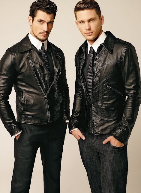 Adam Senn & David Gandy rocking the biker style. Click through to browse our range of leather jackets and get the look #RunwayRepublic