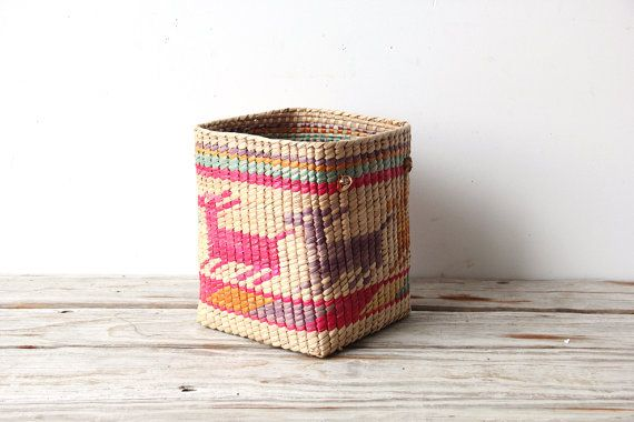 Southwestern Woven Deer Basket by OceanSwept on Etsy, $32.00