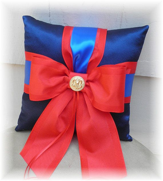 Marine Corps Inspired Dress Blues Military Wedding Ring Bearer PILLOW Ringbearer CUSTOMIZE on Etsy, $30.00