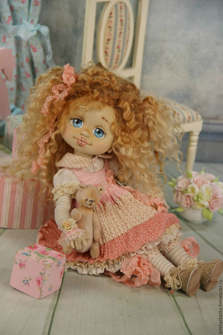 Купить Клёпочка. Кукла авторская текстильная Шебби-шик - кремовый, розовый, розы, белый, шебби