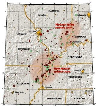 "Wabash Valley Seismic Zone - relation to New Madrid Seismic Zone New Madrid and Wabash Valley seismic zones Map of the New Madrid and Wabash Valley seismic zones. Red circles indicate earthquakes that occurred from 1974 to 2002 with magnitudes larger than 2.5 (University of Memphis).  Green circles denote earthquakes that occurred prior to 1974. Larger earthquakes are represented by larger circles.  From USGS Fact Sheet 131-02, ""Earthquake Hazard in the Heart of the Homeland"""