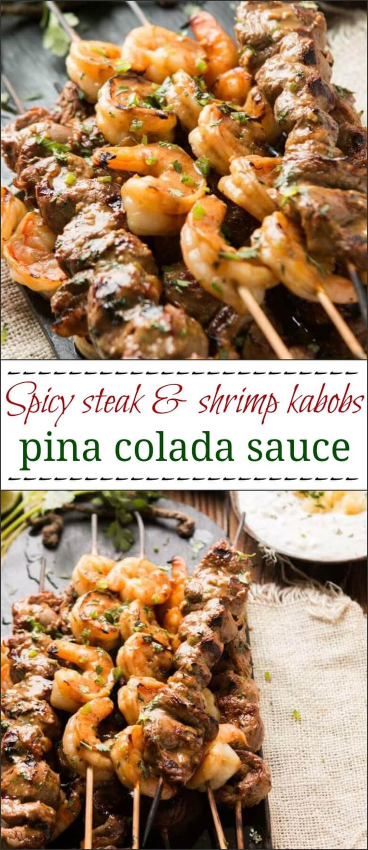 Fire up the grill for these spicy steak and shrimp kabobs with pina colada sauce and you'll be the king of any BBQ or potluck this summer.     via @ohsweetbasil
