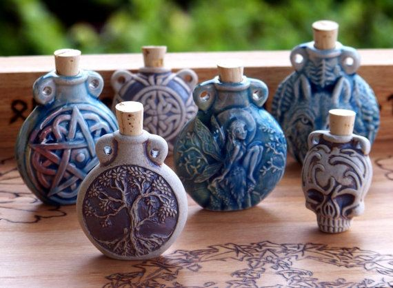 OLD WORLD MAGICK Raku Style Fired Clay or Ceramic Potion Bottle for Spell Oils, Diffuser, Ashes, Incense Powders, Pendant - Your Choice or by ArtisanWitchcrafts, $13.95