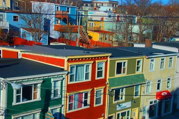 Colourful row houses in St. John's, Newfoundland, Jellybean houses