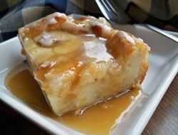 Scrumptious bread pudding just like Grandma used to make. Sweet bread pudding topped with a delightfully rich homemade caramel sauce.