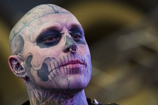 Zombie Boy attends The Great British Tattoo Show at Alexandra Palace.