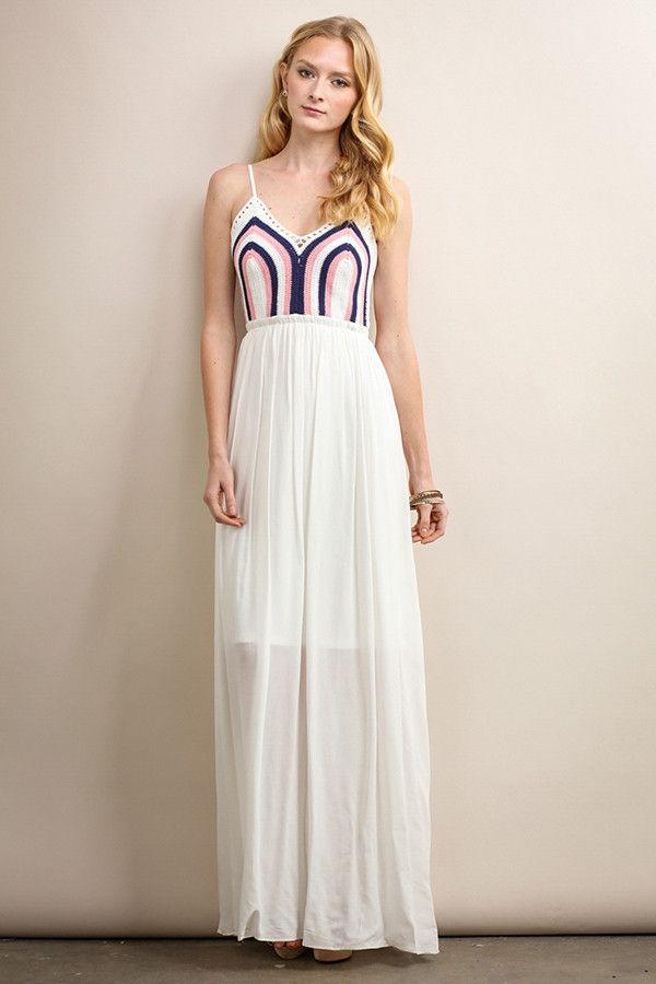 White Crochet Top Maxi Dress