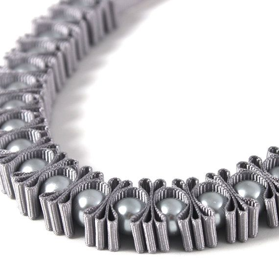 Grey 3 Pleat Pearl Ribbon Necklace by maneggi on Etsy