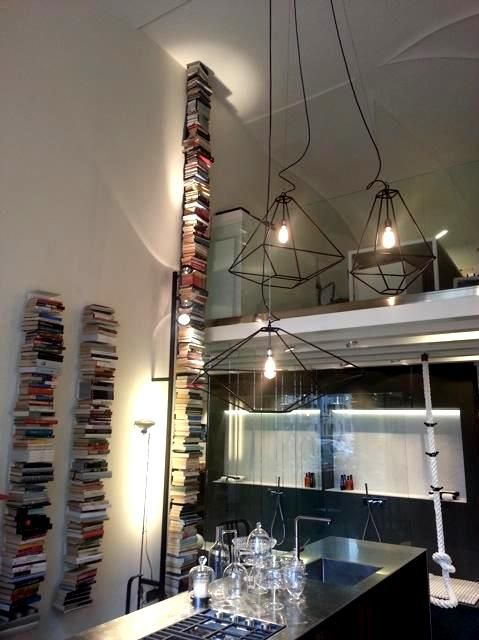 #Ptolomeo wall #bookcase , #ConTradition #lanterns and #LaCima #ClothesHanger at #BiagiottiHome in #Padua #Italy #store