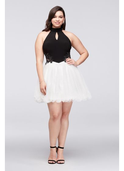 High-Neck Beaded Jersey and Mesh Plus Size Dress 58016W