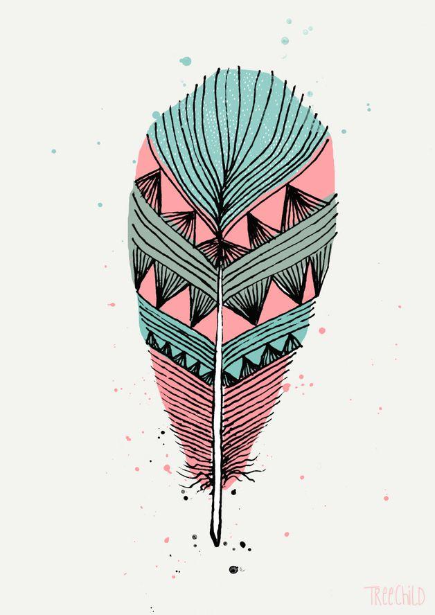 Digitaldruck mit bunter Feder, A4 Format // art print, feather, boho, ethno, by TreeChild via DaWanda.com