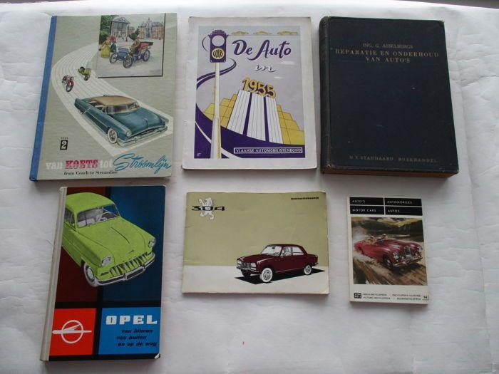 Lot van 6 Auto Boeken en plaatjesalbum instructieboekje; periode 1950 - 1975  Lot van 6 boeken bestaande uit:De Auto in 1955uitgegeven door de vlaamse automobilistenbond VABformaat: 21 x 27 cm168 blz - softcoverboven en onderzijde rug beschadigd verder goede gebruikte staatbeschrijft alle automerken en hun modellen die in 1955 in België leverbaar waren. Van ieder merk een korte beschrijving en diverse afbeeldingen van de te leveren auto'sPlaatjesalbum Van Koets tot stroomlijn album deel 2…