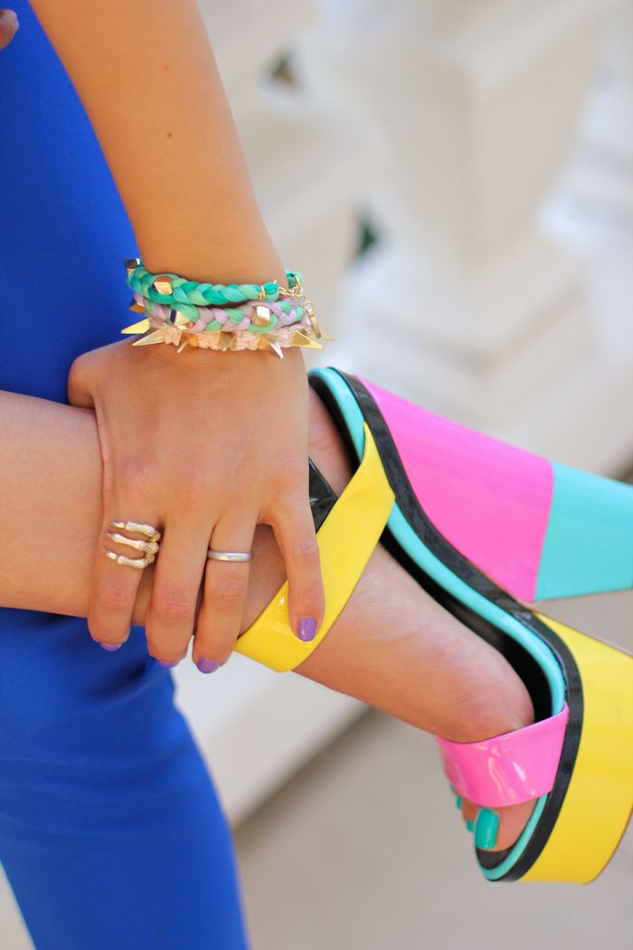 color block heels + arm candy