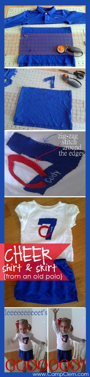 super fast & easy toddler girl cheerleader uniform made from brother's old golf shirt tutorial
