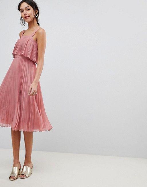bb3c8ec84012 DESIGN double layer pleated cami midi dress in 2019
