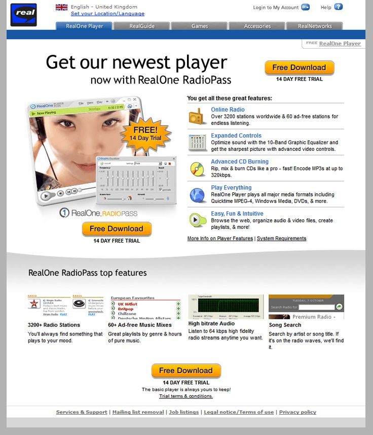 RealOne Player website in 2003