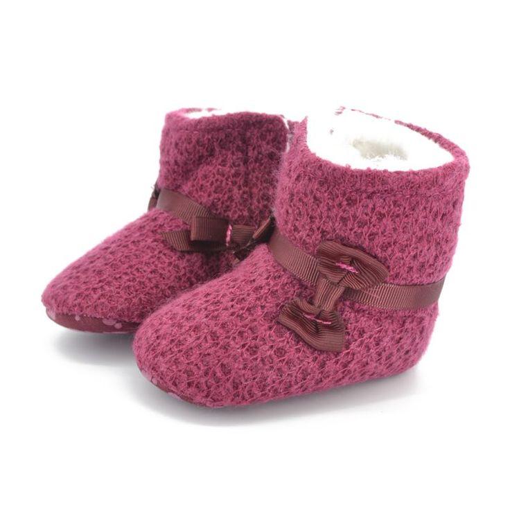 Горячие девочки вязание трикотажные снегоступы теплые первые пешеходов 0 - 18 м младенцы пинетки 0-18Months PY1