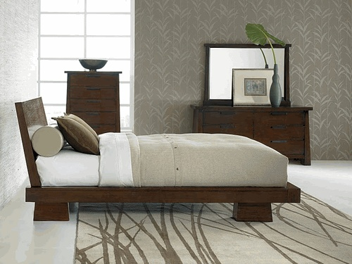 Merveilleux Jura Asian Inspired Bedroom Collection   King 5 Pcs Bedroom Set   Bed, 2  Nightstands
