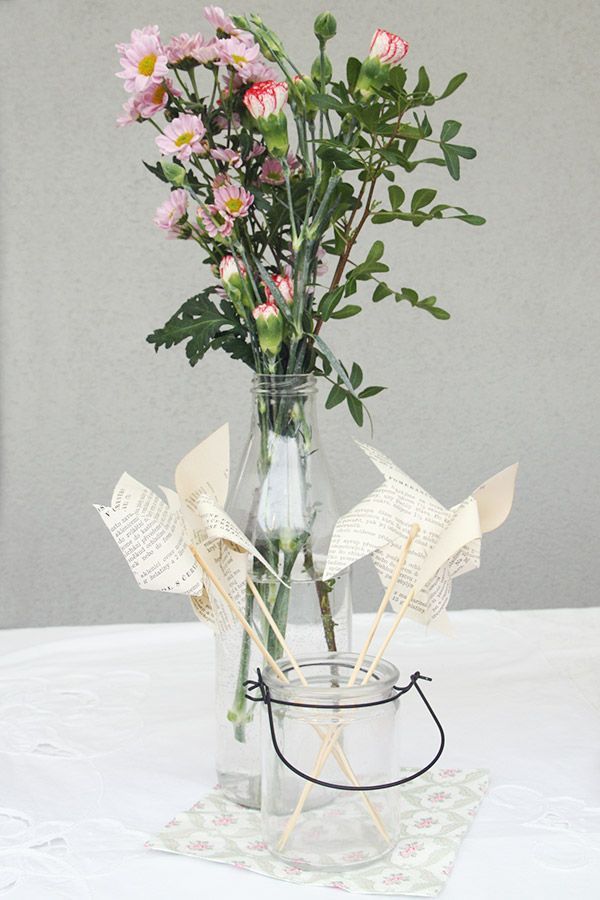 The Vintage Tea Party - le zollette - allestimento con girandole di carta - paper windmill