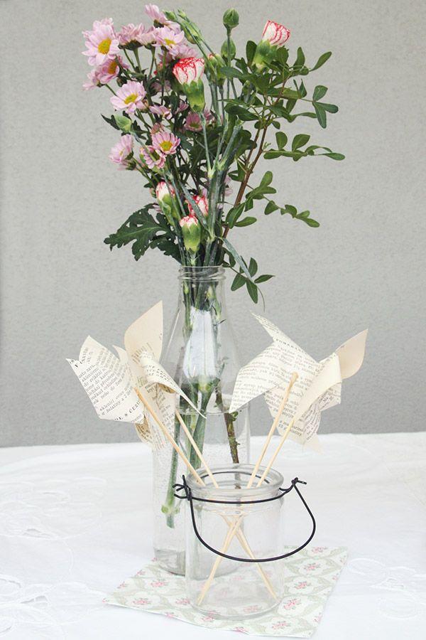 The Vintage Tea Party - le zollette - allestimento con girandole di carta - paper windmill