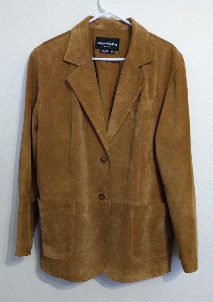 Leather Margaret Godfrey Tortoise 2 Button Dressy Jacket Coat #MargaretGodfrey #BasicJacket