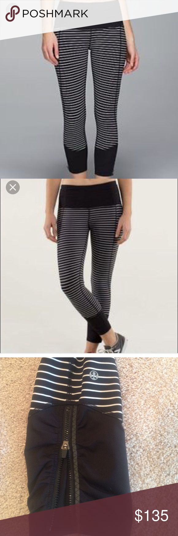 Lululemon runday racer crop pants Lululemon Runday Racer cropped pants. Black and white stripes with black waistband and black at the bottom. Features zippers and reflective material at the bottoms. Two inner pockets in front waistband. Zippered pocket in back. These have been worn twice and are in excellent, like new condition. Sold out everywhere. Very hard to find! lululemon athletica Pants Ankle & Cropped