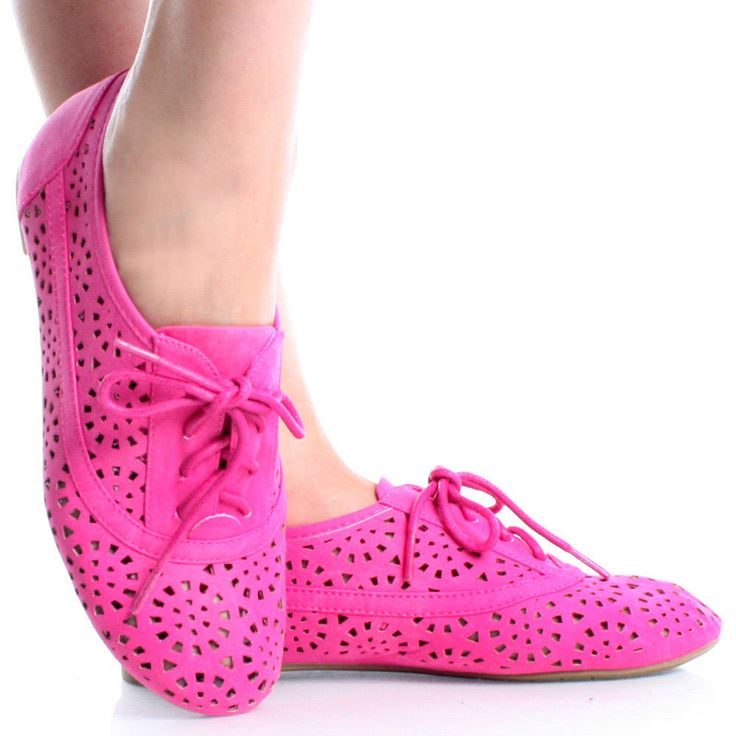Pink-Suede Casual Cut Out Lace Up Oxford Brogues Womens Flat Shoes