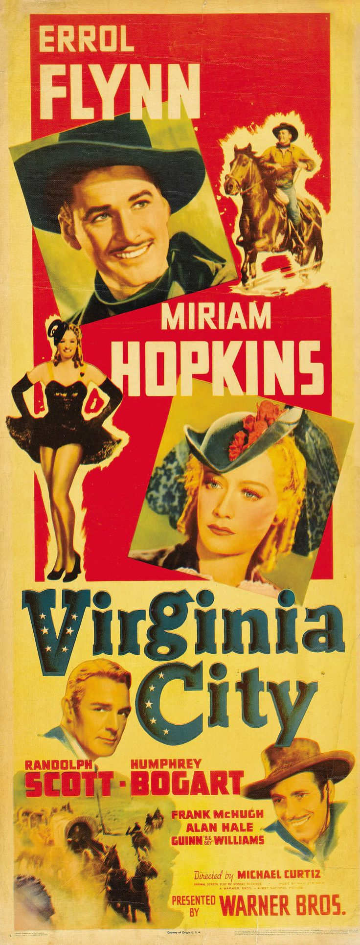 Movie poster, Virginia City 1940 starring Errol Flynn, Humphrey Bogart and Miriam Hopkins