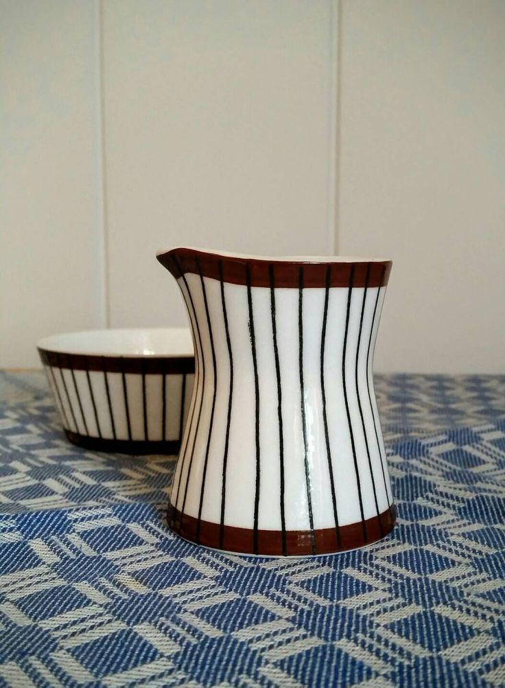 Spisa ribb Stig Lindberg creamer and sugar bowl Gustavsberg, Sweden mid century modern by NordicFiesta on Etsy