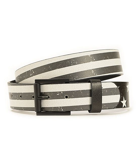 Make your pants fit perfectly with a black and white flag graphic print with a metal star graphic end piece.