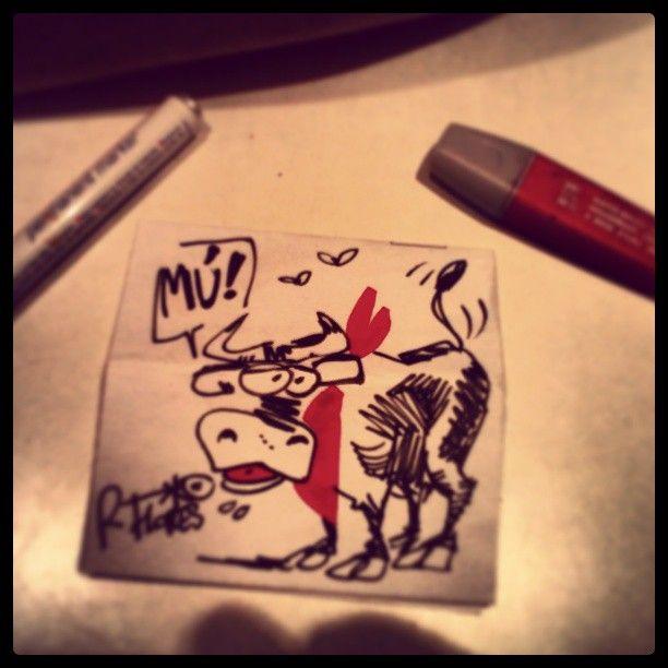 "@Roberto Flores Yoldi's photo: ""Quick #cartoon while #dinner . #dibujo rapido durante la #cena #toro #bull #zezen #sanfermin2013 #sanfermines #sanfermin13 #runningwiththebulls #party #jaiak #fiesta #pamplona #irunea #navarra"""