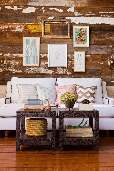 .: Distressed Wood, Small Tables, Coffee Tables, Living Rooms, Rustic Wall, Burlap Pillows, Wooden Wall, Woods Wall, White Couch