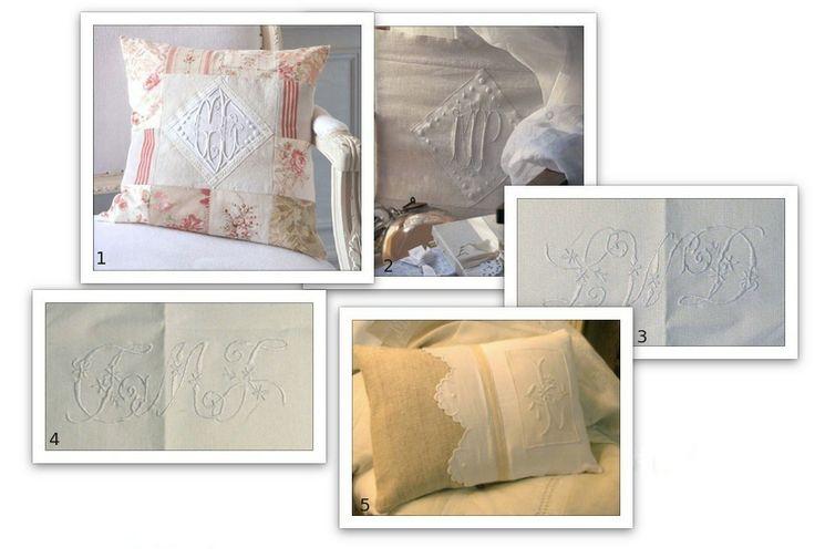 ancora modelli - il monogramma bianco è su tenda http://ateliercannella.files.wordpress.com/2011/08/cuscini-cifre1.jpg